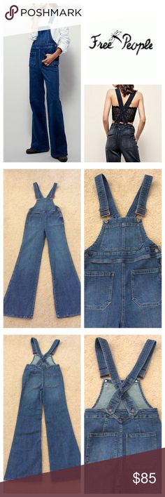 "Free People Medium Wash Overalls Free People Teague Retro One Piece  Made from our stretchy, gummy fabric these retro inspired overalls feature a flared leg and front back slip pockets. Hidden side zip closure. Adjustable straps. Approx 14-1/2"" natural waist,  32"" inseam 98% Cotton 2% Spandex Machine Wash Cold Medium Blue Wash /////NWOT///// Free People Jeans Overalls"