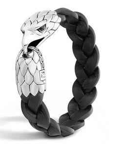 John Hardy Men's Silver Eagle Head Leather Bracelet