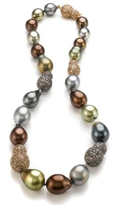 In the case of the necklace with numerous smaller stones the diamonds weight are added together to give you a total carat weight for the locket. Baroque Pearl Necklace, Baroque Pearls, Pearl Jewelry, Beaded Jewelry, Jewelery, Fine Jewelry, Jewelry Necklaces, Pearl Bracelets, Pearl Rings