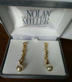 Other Entertainment Mem Nolan Miller Jackie Collins Estate Earrings Black Pearl Celebrity Jewelry