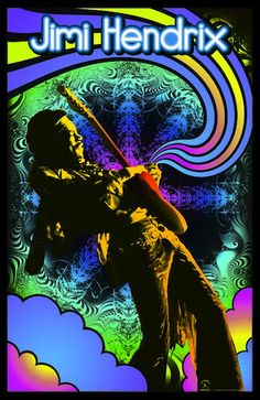 Jimi Hendrix Guitar Solo Black light Poster - Celebrate the psychedelic rock king in a different light with this abstract 23 X 35 Jimi Hendrix Guitar Solo Black light Poster. Hippie Posters, Rock Posters, Concert Posters, Music Posters, Art Posters, Vintage Posters, Jimi Hendrix Guitar, Jimi Hendrix Poster, Psychedelic Effects