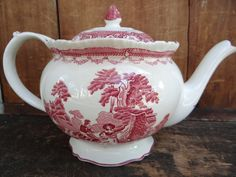 Antique Red Transferware Teapot Watteau Enoch Woods by exploremag