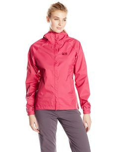 Outdoor Research Women's Horizon Jacket, Medium, Sangria. TorsoFlo Hem-To-Pit Side Zippers. VENTIA: Waterproof and Breathable. Lightweight. Fully Seam Taped. Fully Adjustable Wire-Brimmed Hood.