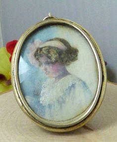 Vintage S. Cottle & Co Sterling Silver Painted Portrait Pendant; Gothic D Mono!! #SCottleCo #Pendant