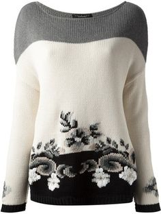 TWIN-SET floral intarsia knit sweater
