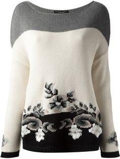 TWIN-SET floral intarsia knit sweater