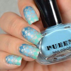 Nail art design done using Pueen Stamping Polishes.  Nail stamping. Matte finish.