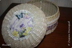 Декор предметов Декупаж Плетение Шкатулочки Бумага газетная Трубочки бумажные фото 9