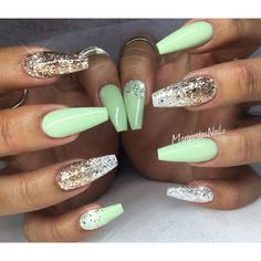 Pastel green and glitter ombré coffin nails summer design
