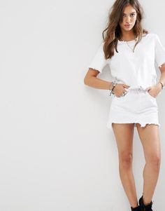 Image 1 of Boohoo Frayed Denim T-Shirt