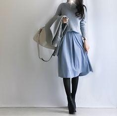 【coordinate】GU水色スカートで親子リンクコーデ/寝相アート|Umy's プチプラmixで大人のキレイめファッション