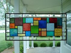 Stained Glass Panel Multi Colors & Beveled Window by TheGlassShire, $128.00