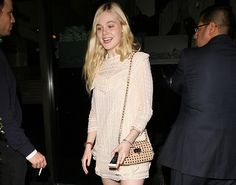 Elle Fanning and Valentino Rockstud Mini Crossbody Bag