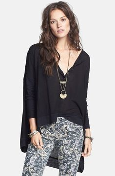 Free shipping and returns on Free People 'Canyon' Henley Top at Nordstrom.com. An alluring henley placket tops a billowing long-sleeve thermal top finished with contrast ribbing at the full-length sleeves and the high/low hemline.