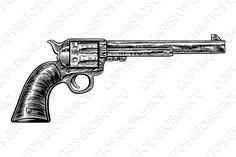 Gun revolver handgun six shooter pistol drawing in a vintage retro woodcut etched or engraved style Head Tattoos, Mini Tattoos, Tatoos, Pistol Tattoos For Women, Style Vintage, Retro Vintage, Pistol Drawing, Revolver Tattoo, Tatuagem Old School