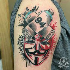 Cool Guy Fawkes trash polka style tattoo by Brendan Poblocki.  #12ozstudios #team12oz #tattoo #tattoos #tattooed #tattooart #tattooartist #tattooshop #ink #inked #GuyFawkes #GuyFawkestattoo #trashpolka #traditionaltattoos