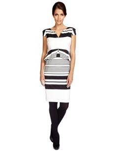 Per Una Striped Peplum Shift Dress-Marks & Spencer