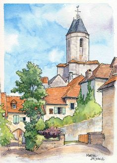 Watercolor Architecture, Watercolor Landscape Paintings, Landscape Drawings, Abstract Watercolor, Watercolor Illustration, Art Drawings, Watercolour, Watercolor Paintings For Beginners, Urban Sketching