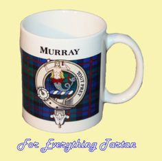 Murray Tartan Clan Crest Ceramic Mug Clan Badge Murray