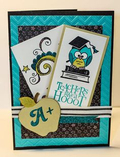 Chalk It Up! Teacher Thank You Cards, Presents For Teachers, Teacher Gifts, Bosses Day Cards, Teacher Appreciation Cards, Owl Card, Chalk It Up, Friend Gifts, Graduation Cards