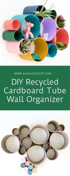 DIY Recycled Cardboard Tube Wall Organizer - A Kailo Chic Life