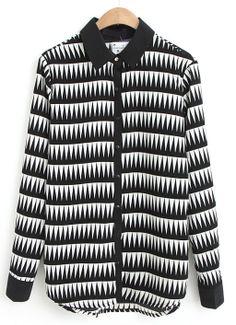Black White Lapel Long Sleeve Geometric Print Blouse - Sheinside.com
