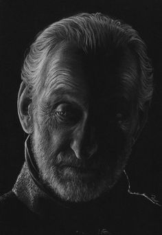 Charles Dance as Tywin Lannister in Game of Thrones. White and grey coloured pencils on black paper. The Old Lion White Charcoal, Black N White, Black Art, Deviant Art, Portrait Au Crayon, Black Paper Drawing, Portrait Photography Men, Men Portrait, Charles Dance