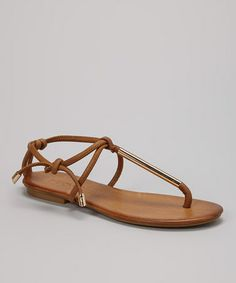 Another great find on #zulily! Nature & Gold Tie Leather T-Strap Sandal by INUOVO #zulilyfinds