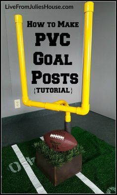 PVC Football Goal Posts - Want to throw the coolest Super Bowl Sunday Party on the block? Make this easy Goalpost centerpiece for your buffet table
