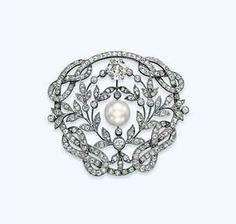 PROPERTY OF THE ROYAL FAMILY OF SAVOY - A BELLE EPOQUE NATURAL PEARL AND DIAMOND BROOCH Centering upon a natural button-shaped slightly grey pearl, weighing approximately 33.90 grains, in a diamond-set wreath with a larger diamond collet at the top, to the diamond-set Savoy knot frame, 1900s. Provenance: Wedding gift from HM Queen Elena of Italy to HRH Princess Lucia of Bourbon-Two Sicilies, Duchess of Ancona, Duchess of Genova