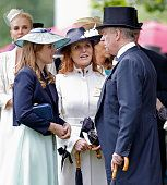 1292-ASCOT, UNITED KINGDOM - JUNE 17: Princess Beatrice, Sarah Ferguson, Duchess of York and Prince Andrew, Duke of York attend day 4 of Royal Ascot at Ascot Racecourse on June 17, 2016 in Ascot, England. (Photo by Max Mumby/Indigo/Getty Images)