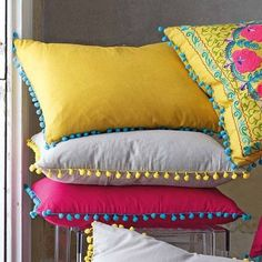 Sewing Cushions adore the pink/blue combo Cushion Cover Designs, Cushion Covers, Pillow Covers, Sewing Pillows, Diy Pillows, Cushions, Handmade Pillows, Decorative Pillows, How To Make Pillows
