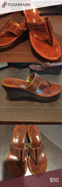 COLE HAAN WEDGE SANDALS SIZE 8 BROWN COME HAAN BROWN WEDGE PLATFORM STYLE SANDAL. EXCELLENT CONDITION SIZE 8. SMOKE FREE - PET FREE HOME. Cole Haan Shoes Sandals