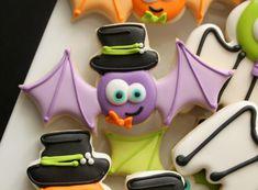 Hat with Bat Cookie.      Sweet Sugar Belle, Purple bat, Halloween