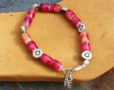 Check out Red Italian Glass Beaded Bracelet with Antique Silver Hearts ~ Personalized Gift to Say I Love You to Girlfriend, Lover, Wife, Mom, Bestie on blueworldtreasures