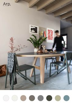 Ovale tafel A-legs CC in kleur wit Dining Area, Dining Bench, Dining Room, Fenix Ntm, Tadelakt, Oval Table, Table Legs, Scandinavian Interior, Chair Design
