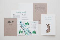 Custom made finnish woodland themed wedding invitation with laser cut / ristic woodland wedding / www.makeadesign.fi / häät / rustiikkiset hääkutsut MakeaDesign