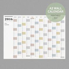A2 Wall Planner 2016 | Printable  Wall Calendar by ShopMaylem via Etsy