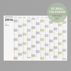 A2 Wall Planner 2016 | Printable  Wall Calendar by ShopMaylem via Etsy