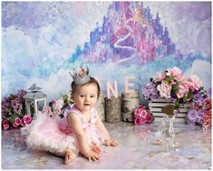 This Cake Smash was fit for a Princess. Natalie Buck Photography specializes in Custom Cake Smash Sessions. Smash Cake First Birthday, Princess First Birthday, Smash Cake Girl, Girl Birthday Themes, Girl Cakes, Birthday Ideas, Princess Photo, Princess Theme, Disney Princess