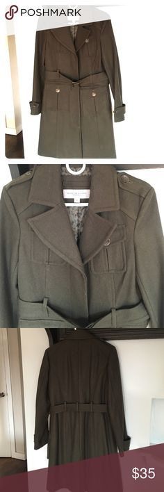 Olive green Marc New York heavy wool coat Like new, worn maybe 3-4 times.  Olive green wool exterior and silk interior.  Bronze buttons detail and matching belt.  Like-new condition. Andrew Marc Jackets & Coats