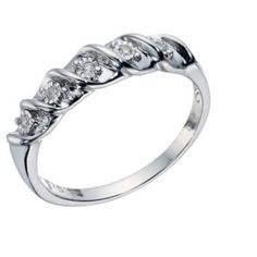 9ct White Gold 5 Stone Diamond Eternity Twist Ring- H. Samuel the Jeweller