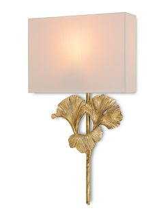 Ginko Leaf Design Wall Sconce in Antique Gold