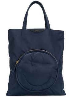 Anya Hindmarch 'wink Chubby' Shopper In Blue Anya Hindmarch Fashion, Nylon Tote Bags, Global Brands, Leather Working, Leather Bag, Diaper Bag, Gym Bag, Pouch, Blue