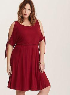 9a95dc889a153 Red Cold Shoulder Jersey Skater Dress