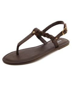 Braided T-Strap Flat Sandal: Charlotte Russe