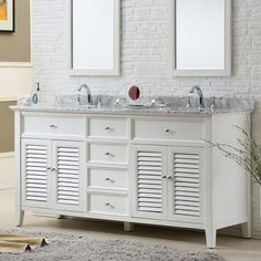 Direct Vanity 70-inch Pearl White Shutter Double Vanity Sink Cabinet - Overstock™ Shopping - Great Deals on Direct Vanity Sink Bathroom Vanities