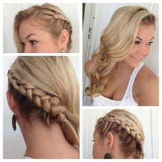 bridesmaid hair? Side braid with Classic Curls; add a clip in accessory and base of braid.