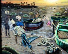 VENDIDO, MEN, pescadores, tlacotalpan, arte, mexico, oil paint, Veracruz by Jorge D. Espinosa