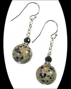 Each Dalmatian jasper bead has its own unique spotted markings, just like the Dalmatian breed of dog. This playful pair...